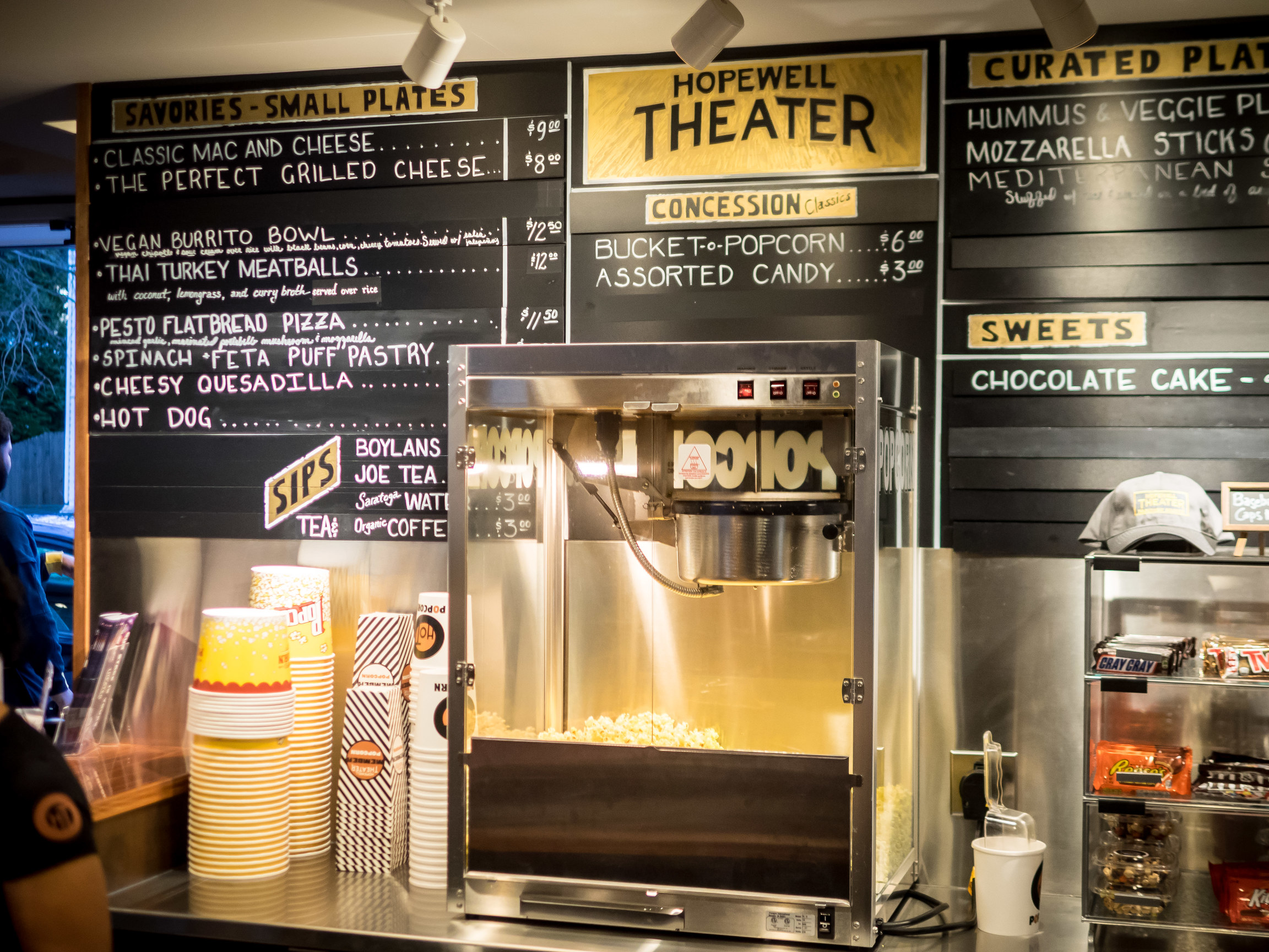 Our dine-in menu changes nightly but the popcorn is always on.
